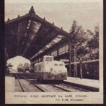 autorail quittant la gare d'évian 1957
