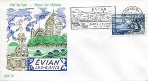Enveloppe premier jour EVIAN LES BAINS flamme 19 10 1957