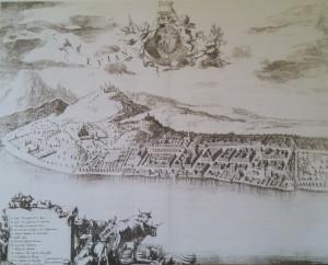 Theatrum sabaudiae - Evian en 1682 2. vol in folio de Jean BLAEU Amsterdam - extrait d'Evian-les bains un patrimoine, Claude Yvette Gerbaulet p.24