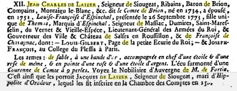 Jean Charles de Laizer, dit comte de Brion
