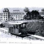 Funiculaire, vue sur le Splendide Hôtel, démoli en 1983. Station réouverte en 2002, mais fermée définitivement en 2005