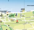 plan d'Evian avec la rue Jean Charles de Laizer derrière les nouveaux thermes, on voit aussi le square Henri Buet, à la fontaine musicale, sur les bord du Léman. Plan officiel 2012 - office du tourisme d'Evian-les-bains