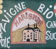 panneau d'info devant le Chateau de Marignan