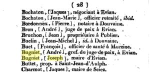 1811 Joseph Bugniet maire d'Evian