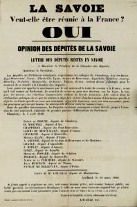 Lettre ouverte des députés savoyards, au président de la Chambre des députés, en faveur de la réunion de la Savoie à la France, le 18 mars 1860.