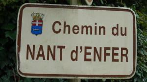 plaque de rue Chemin du Nant d'Enfer Evian les bains