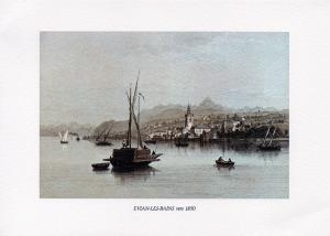 1850 - environ) Evian vue du Léman sur l'église - il y a l'hôtel des bains qui deviendra le Splendide. Il n'a encore que deux ailes